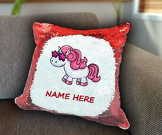 Cool unicorn Personalized Sequin Cushion cover with your name unicorn sequin pillow personalised sequin cushion cover magic sequin cushion by funkytshirtsfactory on Etsy Sequin Pillow, Unicorn Cushion, Cushion Covers, Soft Fabrics, Cushions, Sequins, Sofa, Magic