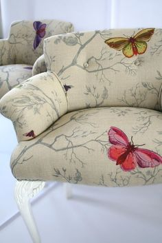 Timorous Beasties Fabric - Butterflies interesting way to patch old furniture too. Butterflies as raised embroidery. Furniture Upholstery, Upholstered Chairs, Cool Furniture, Painted Furniture, Furniture Design, Upholstery Cleaning, Upholstery Fabrics, Furniture Ideas, Upholstery Repair