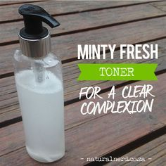 Here's an all natural toner / astringent recipe for a clearer complexion. Ingredients: apple cider vinegar, water and essential oils. Click for recipe.