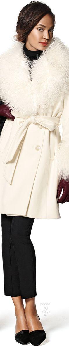 Sofia Cashmere Wool-Cashmere A-line Coat W/ Mongolian Lamb Fur   LOLO❤︎