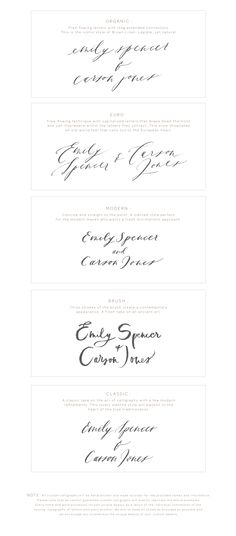 calligraphy style guide — brown linen