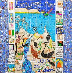 Language, Names, Lists and a Dream, 2019, gouache, charcoal and book pages on linen, framed, 154 x 154 cm Katherine Hattam, episode 2, Talking with Painters