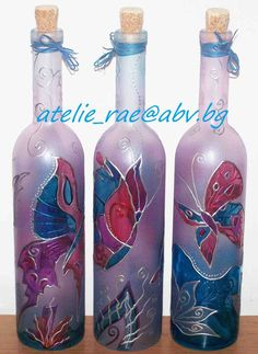 These hand painted bottles are beautiful. Fill with some scented bath oil. Great gift for a special lady!