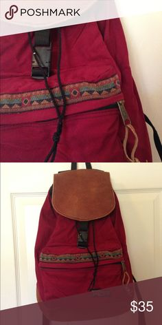Selling this Vintage Leather Boho Jansport Backpack on Poshmark! My username is: ep2chr. #shopmycloset #poshmark #fashion #shopping #style #forsale #Jansport #Handbags