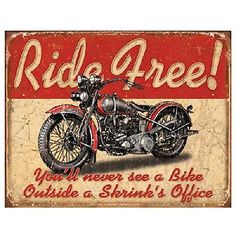 Ride Free Motorcycle Distressed Retro Vintage Harley Indian Metal Tin Sign New