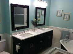 Classic Style with a Modern Twist Renovation, Separate walk-in shower with subway tile surround, bench, and marble accents. Clawfoot tub, marble floors, double vanity, marble sink, Bathrooms Design