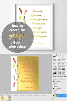 How to make a gold foil effect for graphics / prints using Photoshop or Photoshop Elements via burlap+blue