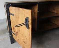 Handmade industrial media console, buffet or credenza. wood, iron, steel riveted construction. Vintage design, handmade door handles and latches.