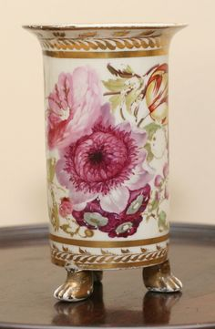 Early Derby Floral Painted Spill Vase BY Thomas Steele 1806 1825 | eBay