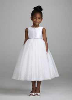 This charming and delicate tea length ball gown will be perfect for your flower girl on your special day! Sample Sale dresses are only available online (not available in stores). Girls Communion Dresses, Bridal Stores, Tea Length, Davids Bridal, Girl Hairstyles, Dresses For Sale, Ball Gowns, Tulle, White Dress