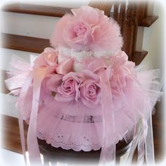 Gorgeous Victorian Rose Tutu Diaper Cake Baby Shower Centerpiece Gift Photo Prop Pink Girl Easter Dress