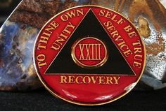 Red Black Tri Plate Alcoholics Anonymous 23 Year Medallion Coin Chip Token | eBay