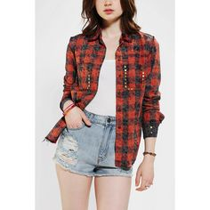 KC by Kill City Kill City Acid-Wash Plaid Shirt ($20) ❤ liked on Polyvore featuring tops, outfits, red multi, red button up shirt, red tartan shirt, button up shirts, shirts & tops and plaid top