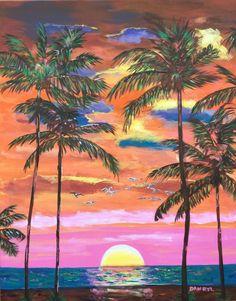 TROPICAL PALM BEACH Original Art PAINTING DAN BYL Modern Contemporary huge 4x5ft #Modern Large Art, Palm Beach, Modern Contemporary, Original Art, Tropical, The Originals, Painting, Painting Art, Paint