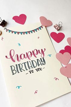 Simple Birthday Cards, Bday Cards, Happy Birthday Cards, Birthday Wishes, Birthday Letters, Birthday Diy, Happy Birthday Hand Lettering, Handlettering Happy Birthday, Birthday Celebration Quotes