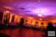 yellow + purple uplighting - love the mix of colors Lantern Set, Wedding Lighting, Yellow Wedding, Paper Lanterns, Rustic Wedding, Amber, Purple, Paper Lantern, Viola