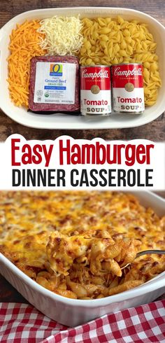 Easy Hamburger Casserole Recipe (4 Ingredients) - Instrupix Easy Hamburger Casserole, Casserole Recipes, Easy Casserole Dishes, Ground Beef Pasta, Ground Sausage, Ground Chicken, Easy Dinner Recipes, Dinner Ideas, Easy Recipes