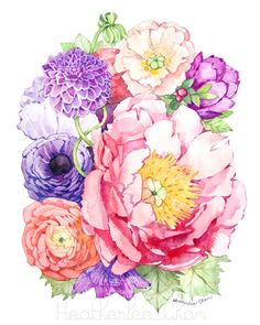 Peony Watercolor Flower Art Painting Pink Purple von ladypoppins