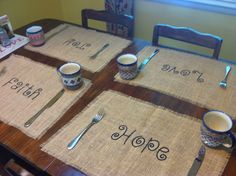 Burlap placemats with fruits of the spirit by FromBhamWithLove, $36.00