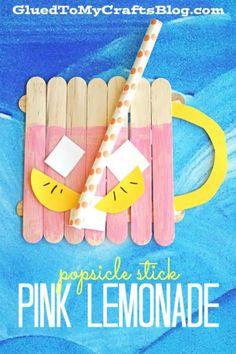 Popsicle Stick Pink Lemonade - Summer Themed Kid Craft Idea #gluedtomycrafts