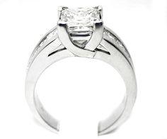 Engagement Ring - Princess Cut Diamond Trellis Engagement ring wide Princess Diamonds Channel Set band 1.16 tcw. - ES100