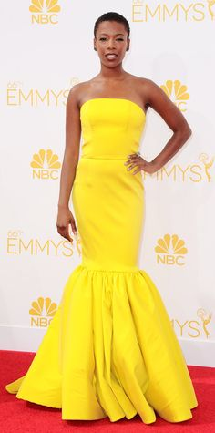 Best Dressed, Emmys 2014. Hands down.  Emmy Awards 2014 Red Carpet Photos - Samira Wiley in Christian Siriano. #InStyle #killedit
