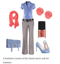 The coral and powder blue go well together with the gray pants