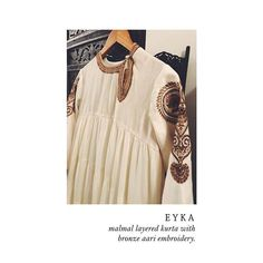 Off white Mal-mal and Bronze aari work. Make the perfect combination. Layered Kurta, Aari Embroidery, Indian Princess, Insta Pic, Off White, How To Make, How To Wear, Women Wear, Bronze