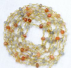 5 Feet Natural Multi MOONSTONE Gemstone Faceted Beads 24k Gold Plated Link Chain. by Sunrisegemstone on Etsy