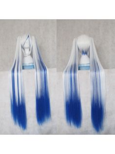 Vocaloid Snow Songs Miku Two color Cosplay Wigs with Braids Hair Style: Split type wigs Role: Vocaloid Miku , Snow Songs Material: High Temperature Heat Resistant Synthetic Fibre ( Freely Shape, Heat Resistant up to 180°) Length: mainly 35cm (13.78)  + 120cm (47.24) 2pcs clip on hair extensions Color: Blue and White mixed color Occasion: Custumes, Cosplay, Holiday, Party $22.05