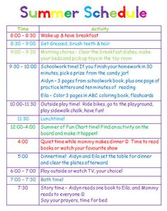 Giving kids a schedule for playtime, chores and summer homework ;) GingerBabyMama Giving kids a schedule for playtime, chores and summer homework ; Kids Summer Schedule, Summer Activities For Kids, Toddler Schedule, Kid Activities, Schedules For Kids, Kids Schedule Chart, Daily Routine Chart For Kids, Daily Schedule Kids, Preschool Schedule