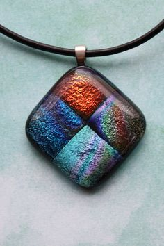 Multi Colored Dichroic Fused Glass Pendant by ChelestersCreations