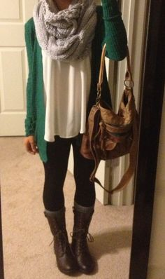 Combat boots, chunky scarf, baggy green sweater. fallwardrobe <3 THE BOOTS!!!!!