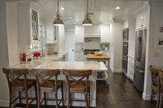 The Cape Cod Ranch Renovation: Great Room Continued- Kitchen flip it---dbl ovens, micro and fridge on same wall