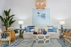 Room of the Week: Beachy Boho Boho Room, Boho Living Room, Nautical Style, Ceramic Table Lamps, How To Distress Wood, Hanging Lights, Outdoor Furniture Sets, Coastal, Bohemian