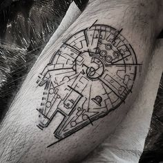 Awesome black tattoo ink of Millennium Falcon from Star Wars movie done by Gareth Hares from UK Black Ink Tattoos, Top Tattoos, Body Art Tattoos, Sleeve Tattoos, Tatoos, Star Wars Tattoo, Dream Tattoos, Future Tattoos, Hawk Tattoo