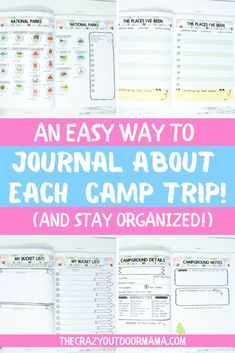 Check out the camp journal log that is big, full color, and has plenty of room to log each of your camp trips! Includes National Parks, States and more! Rv Camping Checklist, Kids Checklist, Camping List, Camping Essentials, Family Camping, Camping Ideas, Camping Stuff, Vacation Checklist, Camping Activities