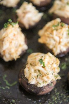 Crab stuffed mushrooms seasoned and roasted to perfection. A quick and delicious appetizer or snack option that will impress your guests. I enjoy these on their own but they also pair lovely with steak or chicken. #crabstuffedmushrooms #appetizer #crab Quick And Easy Appetizers, Healthy Appetizers, Appetizer Recipes, Cheese Stuffed Mushrooms, Creamed Mushrooms, Stuffed Peppers, Crab Louie Salad, Honey Roasted Carrots, Lobster Mac And Cheese