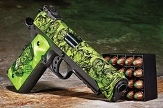 The reanimated Iver Johnson has made a statement with its recent introduction of the Eagle LR Zombie, a new .45-caliber Model 1911A1 rail gun with a plethora of custom enhancements. Based on the company's black Eagle LR, this light-rail-equipped sample arrived as a zombie-themed handgun wearing a green hydro-dipped illustration of the undead on its slide and a pair of Hogue green pearlized polymer custom grips.