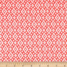 Crinkle Rayon Challis Aztec Diamond Coral/White from @fabricdotcom  This rayon fabric has a beautiful fluid drape, soft hand and crinkle texture. It is perfect for creating shirts, blouses, gathered skirts and flowing dresses with a lining. Colors include coral and white.