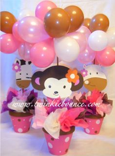 Ballon flower pot centerpiece...I am doing this for my daughters bday! easy to change for any theme