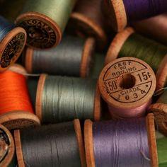 I love old spools of thread!