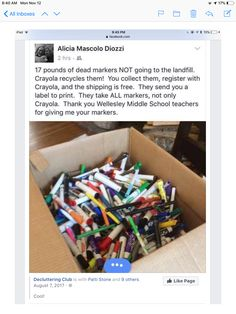 For those of you with children who love arts and crafts, marker pens can be used up pretty quickly. One way to clear out your old marker pens is to send them back to Crayola to be recycled! No Waste, Reduce Waste, Save Our Earth, Useful Life Hacks, Do It Yourself Home, Classroom Organization, Classroom Hacks, Classroom Crafts, Future Classroom
