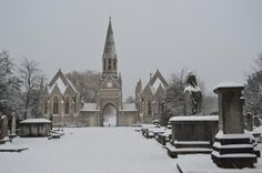 Beautiful photo of Hampstead Cemetery by Fortune Green in the snow - Jan 2013 (via Benson Lowy) Jubilee Line, Great Restaurants, Great Britain, Cemetery, Ol, Barcelona Cathedral, United Kingdom, Traveling By Yourself, Ireland
