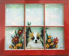 Chihuahua Pet Portrait Animal Window Painting Dog Art by petzoup, $100.00