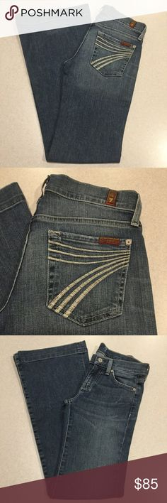7 For All Mankind Jeans 24X32 Dojo In New Nolita! ❗️PRICE ABSOLUTELY FIRM❗️ 7 for all mankind jeans Size 24 32 inch unaltered inseam The dojo in new nolita Famous white stitched 7 back pockets Vibrant blue stretch denim with medium fading Perfect preowned condition, no flaws Retailed for $212.00 My dojos sell fast so don't wait on these!  All of my items come from a smoke free, pet free home and are authenticity guaranteed! Please ask any questions. 363-13 7 For All Mankind Jeans Flare…