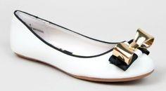 Bamboo SAMI-60 Metal Bow Detail Slip On Basic Classic Ballet Flat Shoe