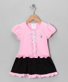 Take a look at this Pink & Black Bow Dress - Toddler & Girls on zulily today!
