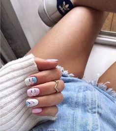 What manicure for what kind of nails? - My Nails Cute Acrylic Nails, Cute Nails, Pretty Nails, Hair And Nails, My Nails, Gold Nails, Beach Nails, Easter Nails, Manicure E Pedicure