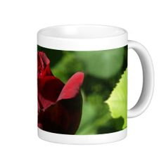 Elegant Red Velvet Rose Mug - $16.95 - Elegant Red Velvet Rose Mug - by RGebbiePhoto @ zazzle - A beautiful rosebud, deep velvet red in color, in a spring garden. Strong red and green theme, this elegant rose adds a touch of class to any occasion. Elegance and Romance, a lover's flower. A definite must for red rose lovers!